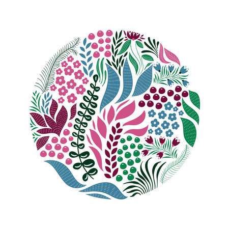 Vector Circle  Pattern with Flowers, Berries, and Leaves. Spring Greeting Card Design Illustration