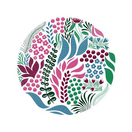 Vektorkreismuster mit Blumen, Beeren und Blättern. Frühlingsgrußkarten-Design