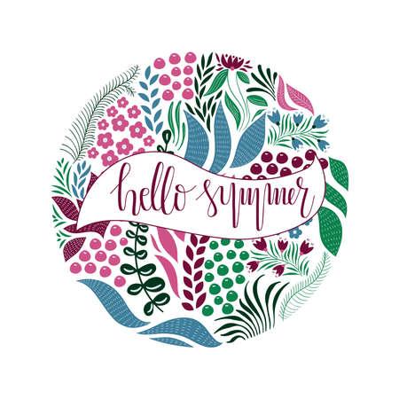 Vektorkreismuster mit Blumen, Beeren und Blättern. Hand-Schriftzug-Text. Hallo Frühling. Frühlingsgrußkarten-Design