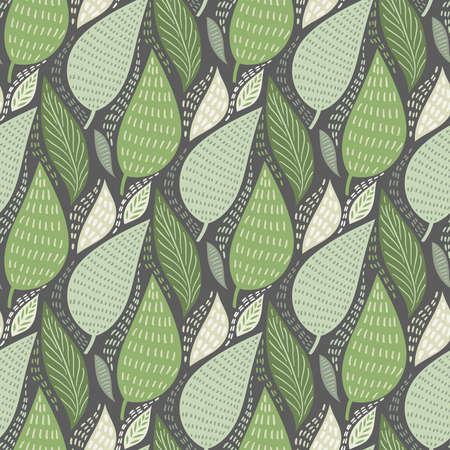 Vector Seamless Tough Pattern with Leaves. Pastel Green Colours. Spring Pattern