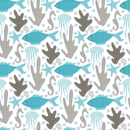 Vector Seamless Tough Underwater Pattern with creatures and plants