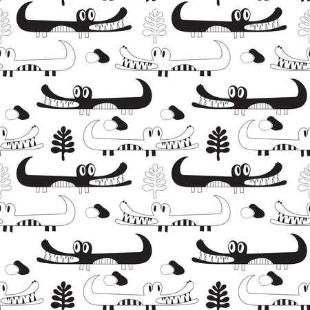 Vector Seamless Black and White Crocodiles Pattern. Savannah landscape Illustration