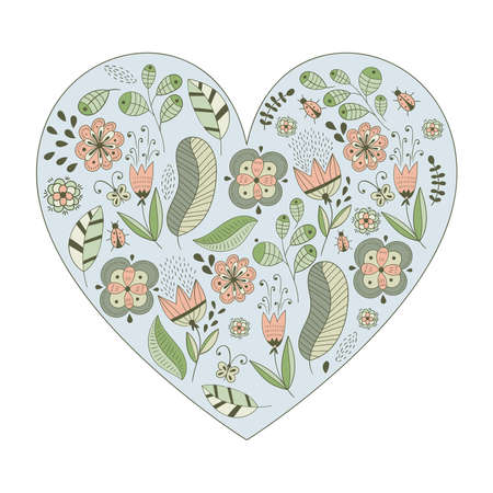 Vector Heart Shape  with Flowers and Leaves. Valentines Day Greeting Card