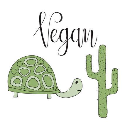 Vector Vegan Awareness Card with Turtle and Cactus