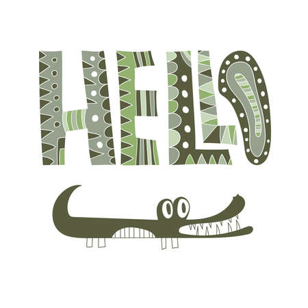 Vector Hello Greeting Card with Green Crocodile