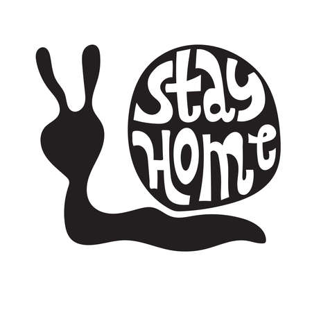Vector Stay Home slogan. Conceptual illustration with snail. Hand drawn lettering about healthy rule and social distancing.