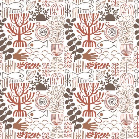 Vector Seamless ethnic Pattern with tribal african symbols. Naive Style Print Vektorgrafik