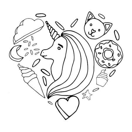 Cute line rainbow vector black and white unicorn Ilustrace
