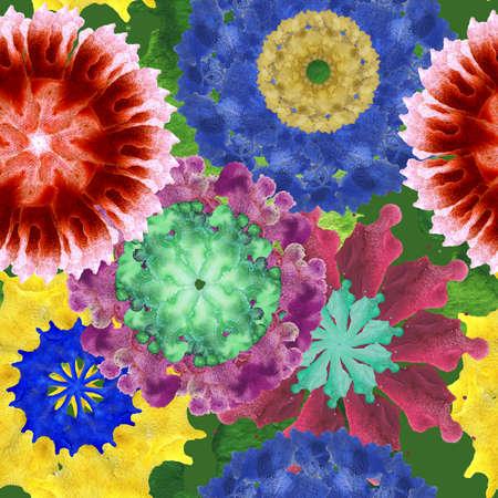 Flower watercolor fabric pattern from 70s Stock fotó