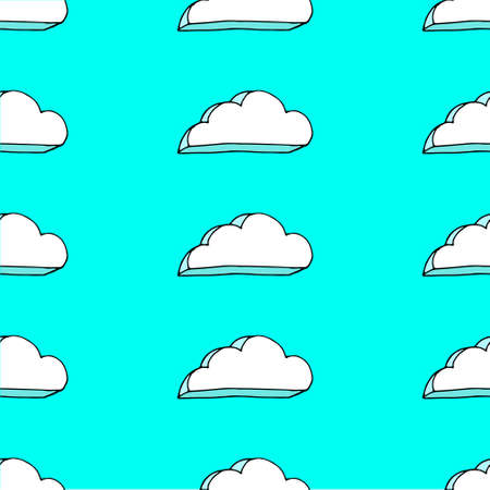 Cute blue and white cloud pattern Ilustrace