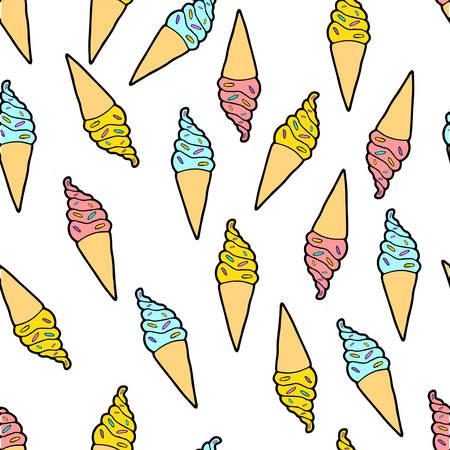 Cute color ice cream pattern Ilustrace