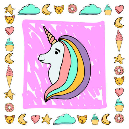 Cute pink color unicorn frame