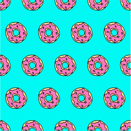 Cute donat pink and blue pattern