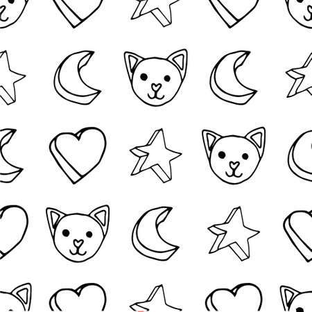 Cute star cat crescent pattern Ilustrace