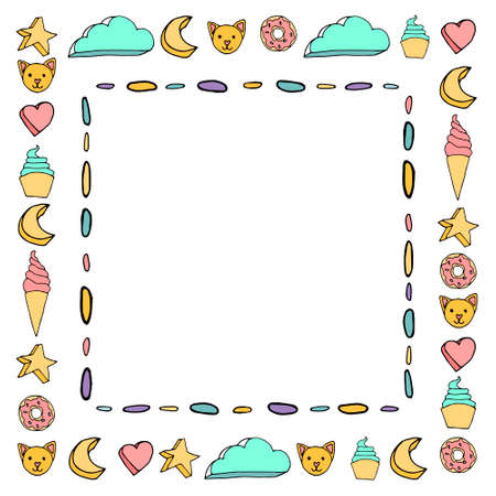Cute pink and white color frame Ilustrace