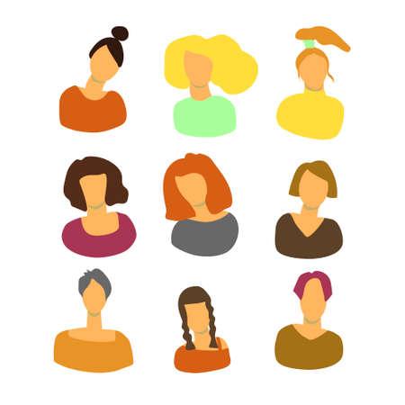 Female woman color icon set