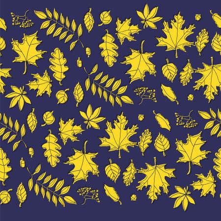 doodle color autumn leafs on the color background Ilustrace
