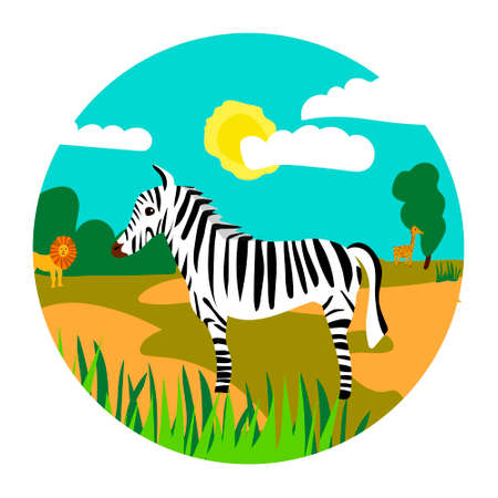 Safari color illustration with zebra lion and girafe for book or stiker