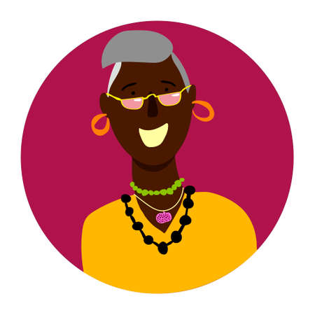 Vector color portrait of smiling woman in a circle 向量圖像