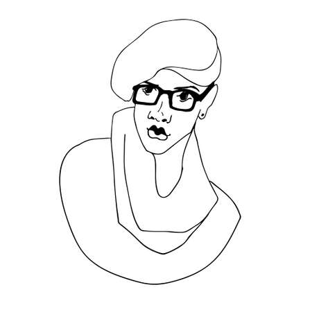 Black line vector sketch of glamorous woman with glasses