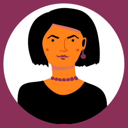 Vector color portrait of gotic woman in a circle Stock Illustratie
