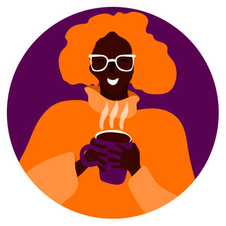Vector portrait of smiling woman with coffee in a circle