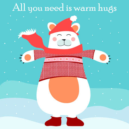 cute white christmas bear illustration all you need is warm hugs