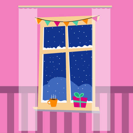 Christmas magic winter window with gift and cup