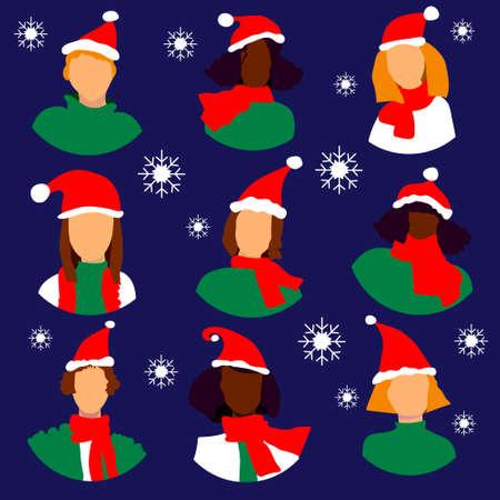 Winter woman icon avatar set new year merry cristmas 2019 Ilustrace