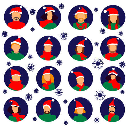 Winter people icon avatar set new year merry cristmas 2019