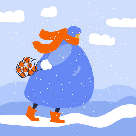 Woman outside in winter clothes