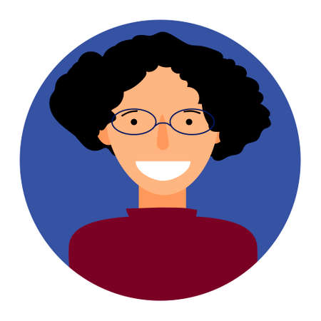 Smiling woman flat icon. Suitable for use in applications, infographics, web, social networks.