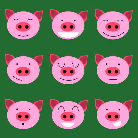 Set of icon with cheerful and cute piglets. Smiling, cat, serious, sad, unhappy pig Ilustrace
