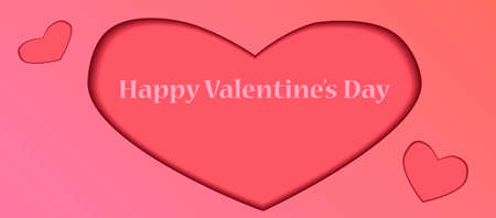 Valentine's day papercut banner for social networks