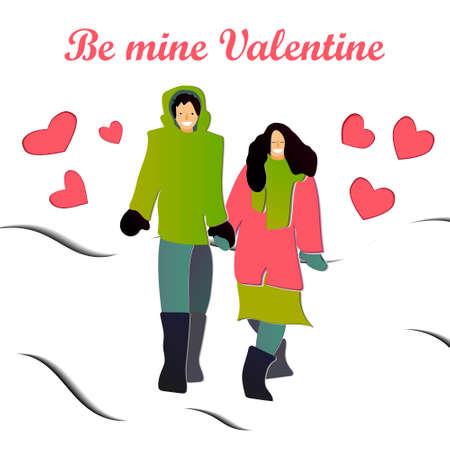 Be mine Valentine papercut postcard