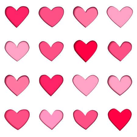 Valentine's day papercut pattern set 16 hearts Ilustrace