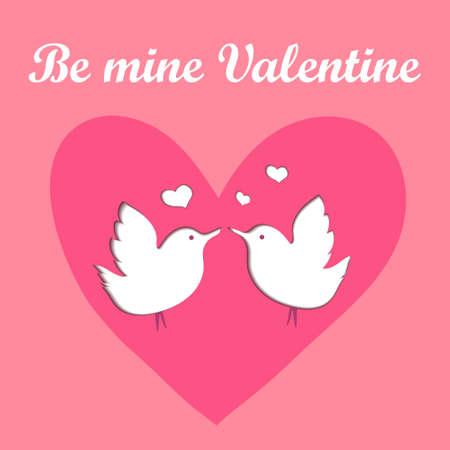 Be mine Valentine papercut postcard for Valentine Day