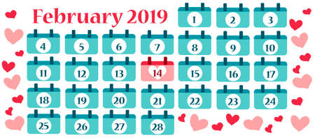 Valentine banner with calendar for February with hearts