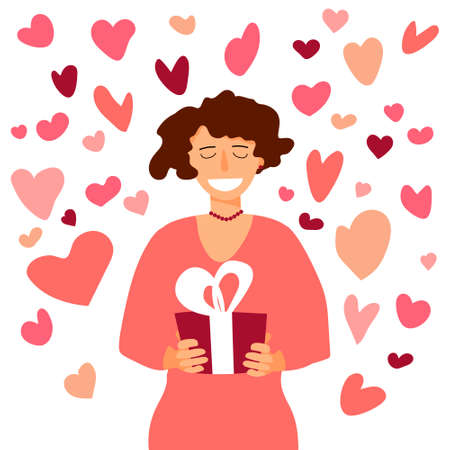 Woman with gift box with heart around