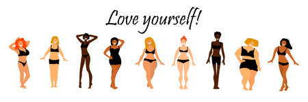 Body positive set. Love yourself text. Multiracial women of different height, figure type and size.