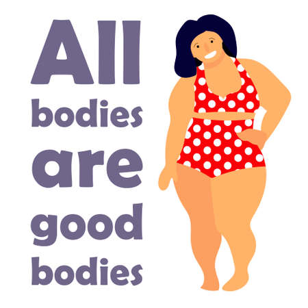 Happy plus size woman. Happy body positive concept. All bodies are good text. Attractive overweight woman. Ilustrace