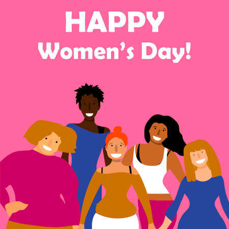 International Women's Day. Vector template with for card, poster, flyer and other users. Happy Women's Day Ilustrace