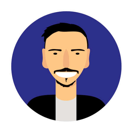 Vector portrait of smiling man in a blue circle