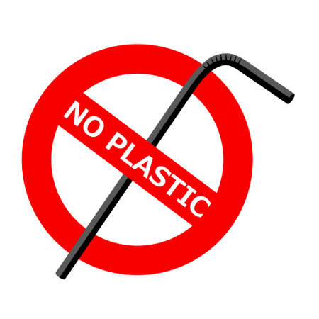 Vector Icon prohibitive sign of environmental themes. On the red warning sign, the crossed-out plastic tube and the text: NO PLASTIC.