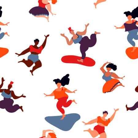 Body pozitive happy jumping women pattern Ilustrace