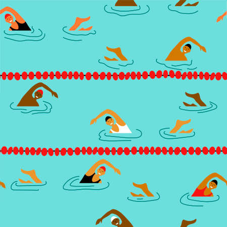 Smiling people swimming in the swimming pool seamless pattern