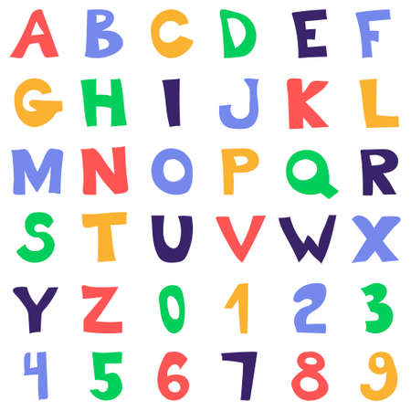 Vector funny cartoon hand drawn marker colorful uppercase alphabet.