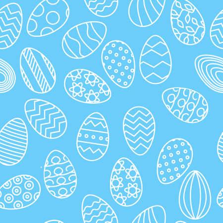Line white eggs pattern on light blue background for Easter banner Ilustrace