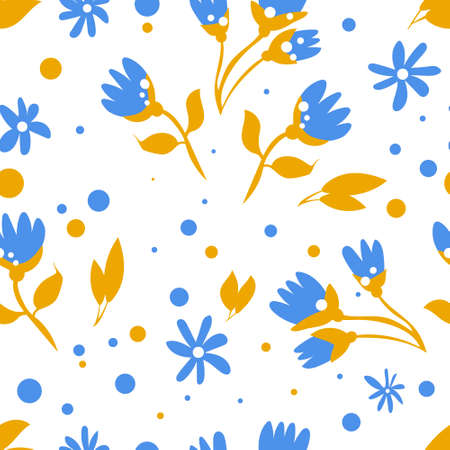 Blue flowers with yellow leafs pattern for spring banner