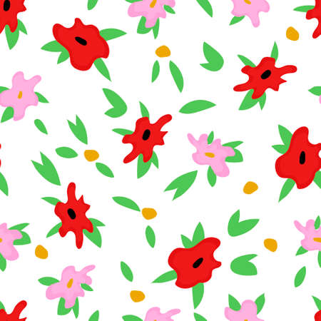 Red and pink flowers pattern for spring banner
